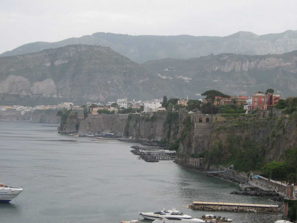 View of the cliffs that Sorrento Italy is famous for.
