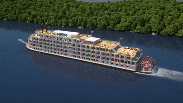 The newest paddlewheeler river cruise ship, The America, from American Cruise Lines.