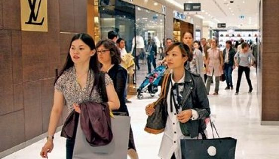 Chinese shoppers at a Paris shopping mall.