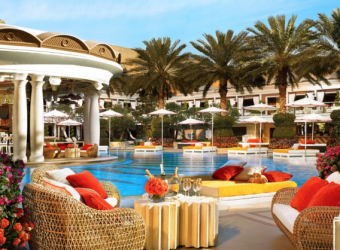 The luxurious pool at Wynn Las Vegas makes the hot climate a little more bearable.
