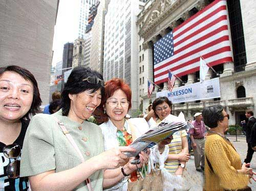 Chinese tourists discovering New York City.