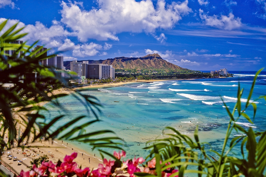 Waikiki Beach and Diamond Head on Oahu, Hawai'i.