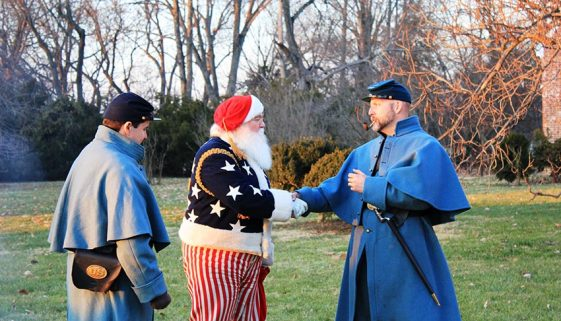 Santa Greets Soldiers At Chatham Manor.