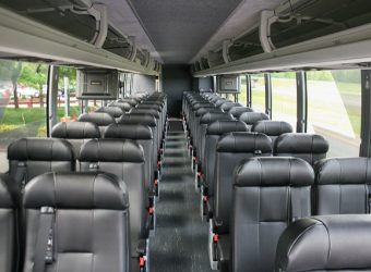 The interior of a Bolt Bus.